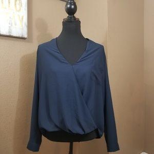 Topshop || dark navy flowy wrap blouse